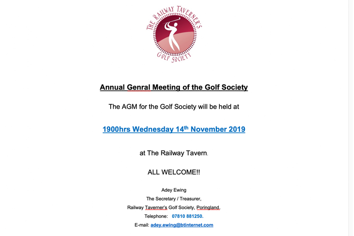 The Railway Taverners Golf Society Charity Donation 2019